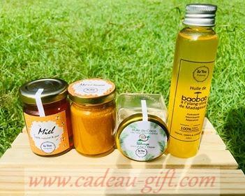 le Coffret cocktail bienfaisant: pot de miel pur + pot de miel curcuma + 1 pot d'huile extraite Madagascar Cadeau-Gift