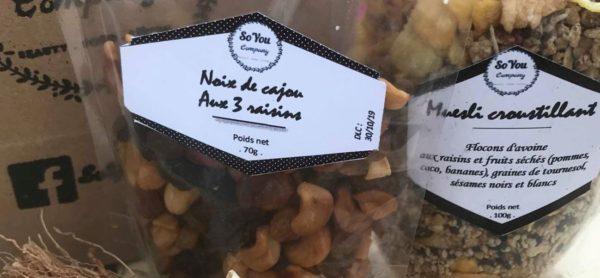 collations muesli croustillant noix de cajou aux 3 raisins Madagascar