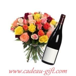 bouquet de fleurs et vin en livraison à domicile